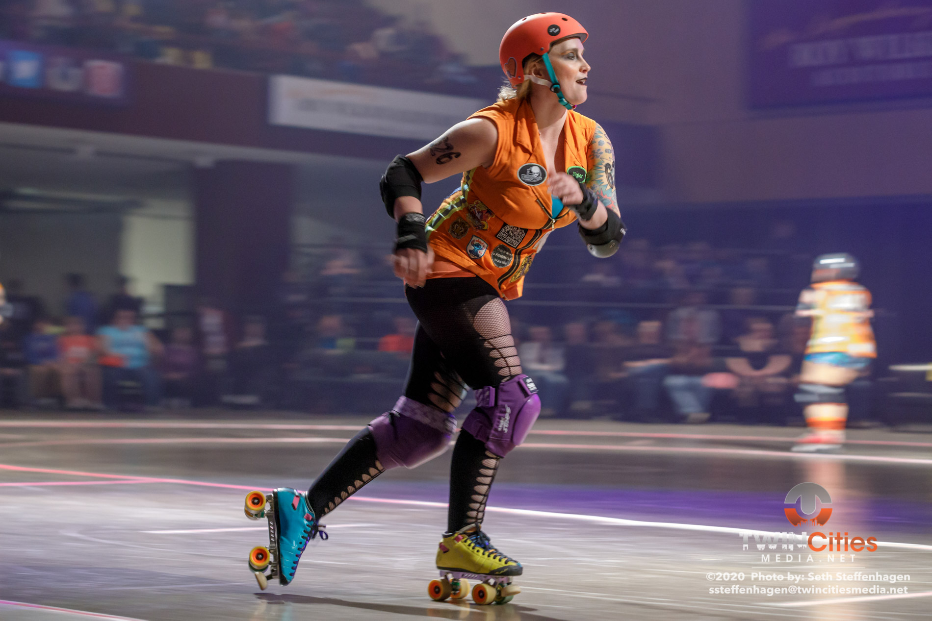 February 15, 2020 - Saint Paul, Minnesota, United States - Scenes from the Minnesota Roller Derby  home team semi-finals at the Roy Wilkins Auditorium between Atomic Bombshells and Dagger Dolls.  (Photo by Seth Steffenhagen/Steffenhagen Photography)