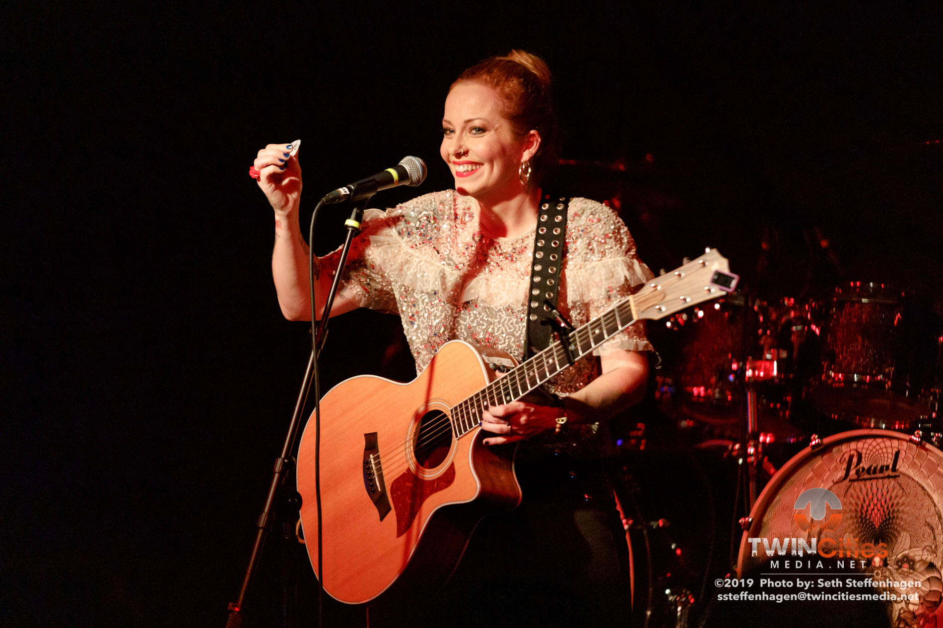 September 30, 2019 - Minneapolis, Minnesota, United States -  Anneke Van Giersbergen live in concert at The Cabooze opening for Delain and Amorphis.  (Photo by Seth Steffenhagen/Steffenhagen Photography)