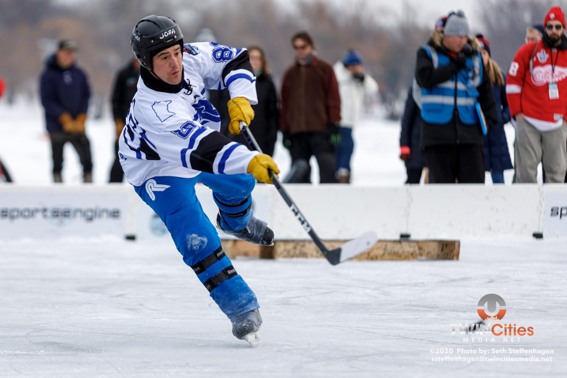 January 26, 2020 - Minneapolis, Minnesota, United States -  RJ Ryan Construction play Hendy Homes Tail Gators for the Open championship during the U.S. Pond Hockey Championships on Lake Nokomis. (Photo by Seth Steffenhagen/Steffenhagen Photography)