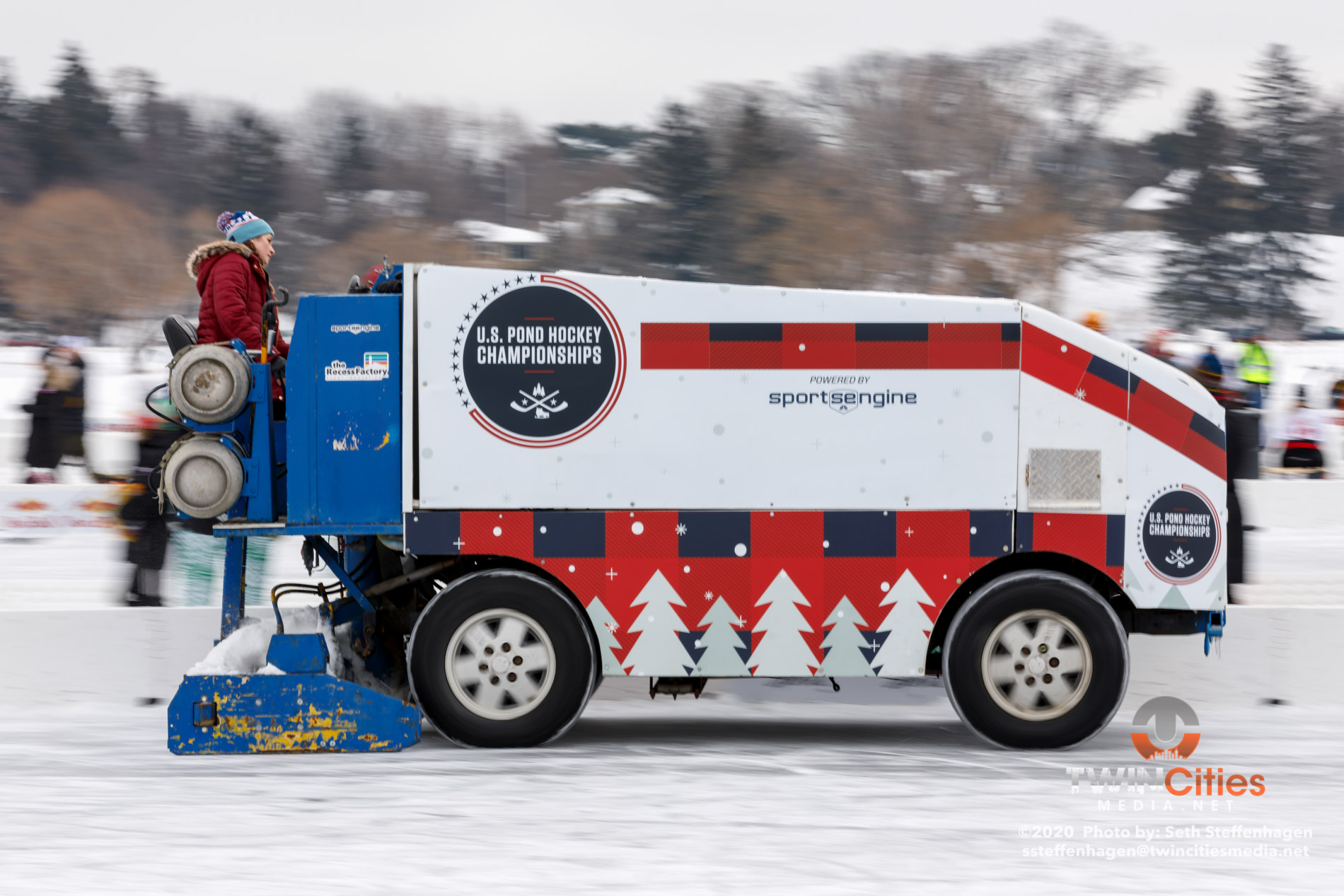 January 26, 2020 - Minneapolis, Minnesota, United States - A zamboni cleans the ice at the U.S. Pond Hockey Championships on Lake Nokomis.   (Photo by Seth Steffenhagen/Steffenhagen Photography)