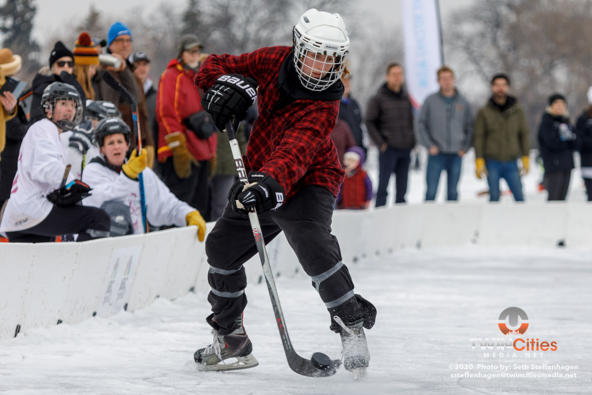 January 26, 2020 - Minneapolis, Minnesota, United States -  Top Shelf Tricks play Consistently Cuatro for the Women\'s championship during the U.S. Pond Hockey Championships on Lake Nokomis. (Photo by Seth Steffenhagen/Steffenhagen Photography)
