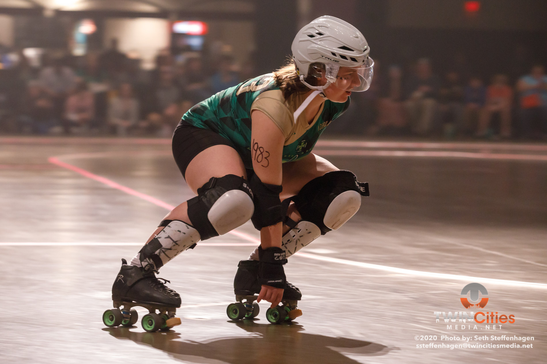 February 15, 2020 - Saint Paul, Minnesota, United States - Scenes from the Minnesota Roller Derby  home team semi-finals at the Roy Wilkins Auditorium between Garda Belts and Rockits.  (Photo by Seth Steffenhagen/Steffenhagen Photography)