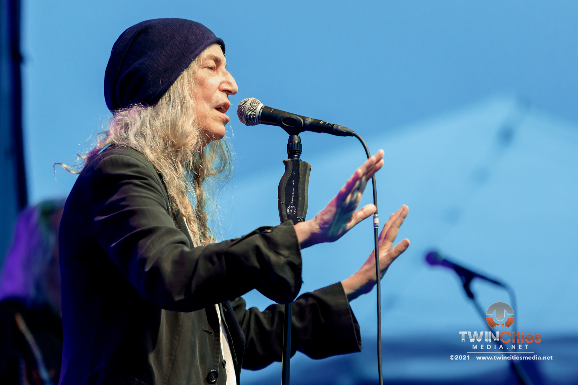 August 7, 2021 - Minneapolis, Minnesota, United States - Patti Smith And Her Band live in concert at Surly Brewing Festival Field along with Gregory Alan Isakov as the opener.  (Photo by Seth Steffenhagen/Steffenhagen Photography)